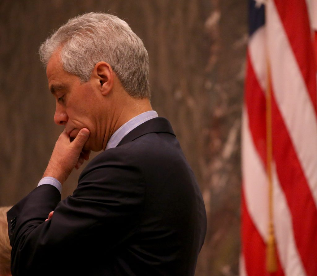Mayor Rahm Emanuel presides over a Chicago City Council meeting on Wednesday. (Antonio Perez/Chicago Tribune via AP)