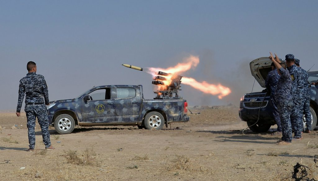 Federal police forces launch a rocket during clashes with Islamic State militants in south of Mosul October 26, 2016. REUTERS/Stringer