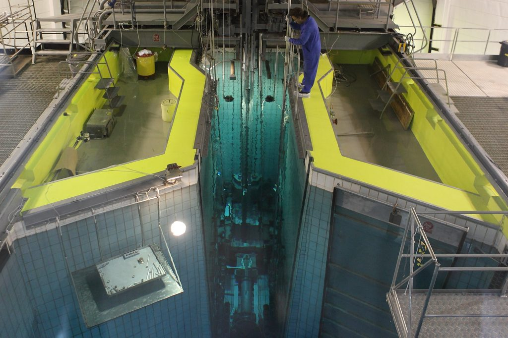 A view of the interior of the Israeli nuclear reactor located in the Sorek valley in the Judean hills. Israel maintains two nuclear reactors, one in Nahal Sorek, and the other at the Negev Nuclear Research Center near Dimona. (Yaakov Naumi/Flash90)