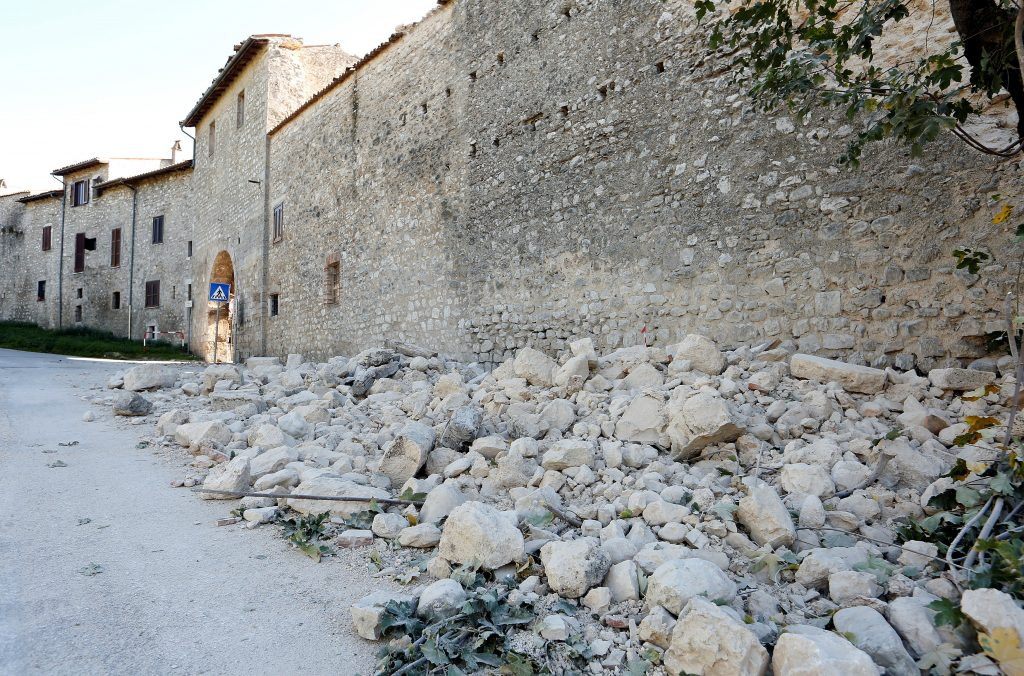 A partially collapsed wall  is seen following an earthquake in Norcia, Italy, October 30, 2016. REUTERS/Remo Casilli