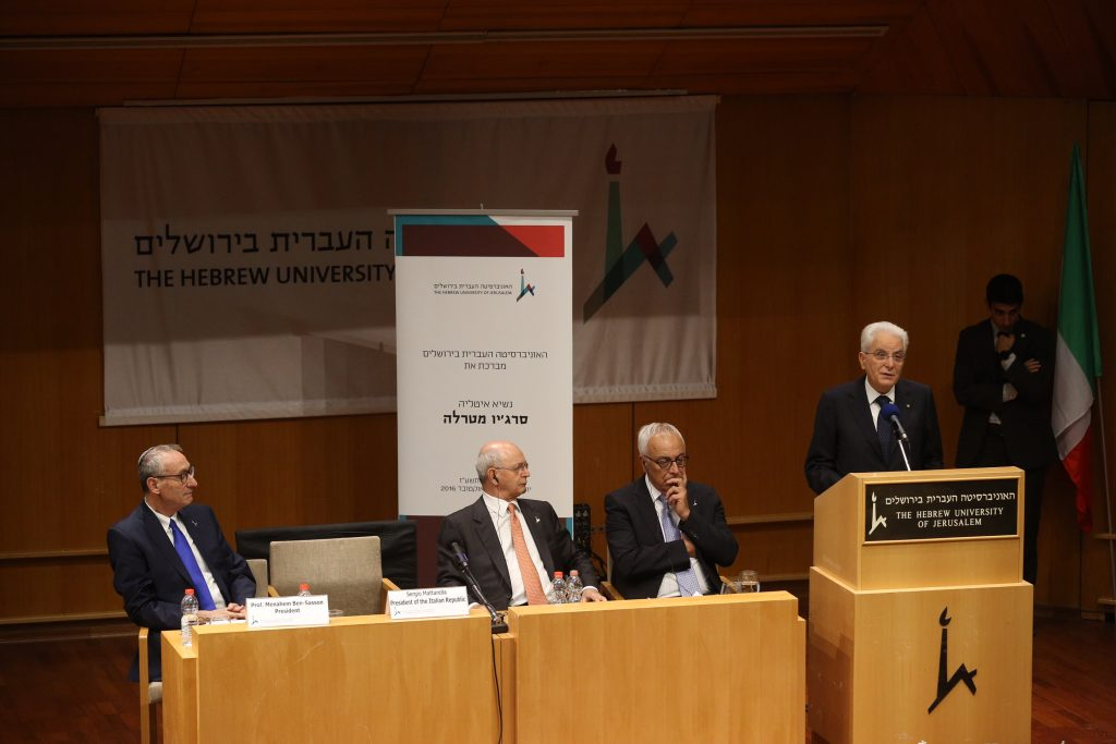 President of the Italian Republic, Sergio Mattarella, speaking at Hebrew University on Mount Scopus, Sunday. (Miriam Alster/Flash 90)