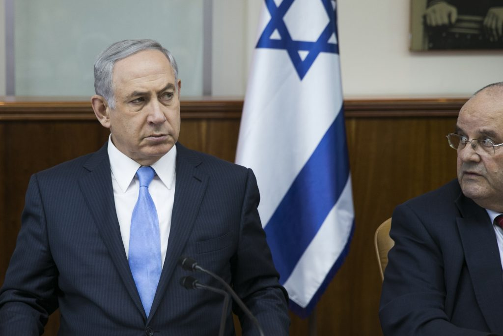 Israeli Prime Minister Binyamin Netanyahu at the weekly cabinet meeting on Sunday. (Ohad Zwigenberg/Pool)