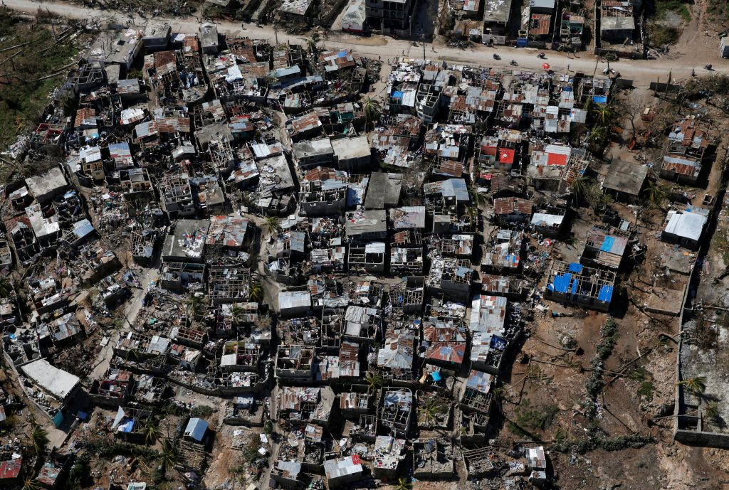 Damaged houses are seen after Hurricane Matthew passes in Jeremie, Haiti, October 9, 2016. REUTERS/Carlos Garcia Rawlins