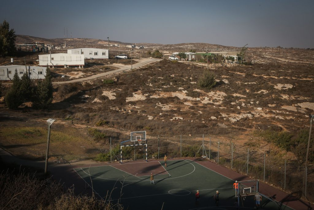 View of caravan homes at the Amona outpost in the Binyamin regional council. (Flash90)