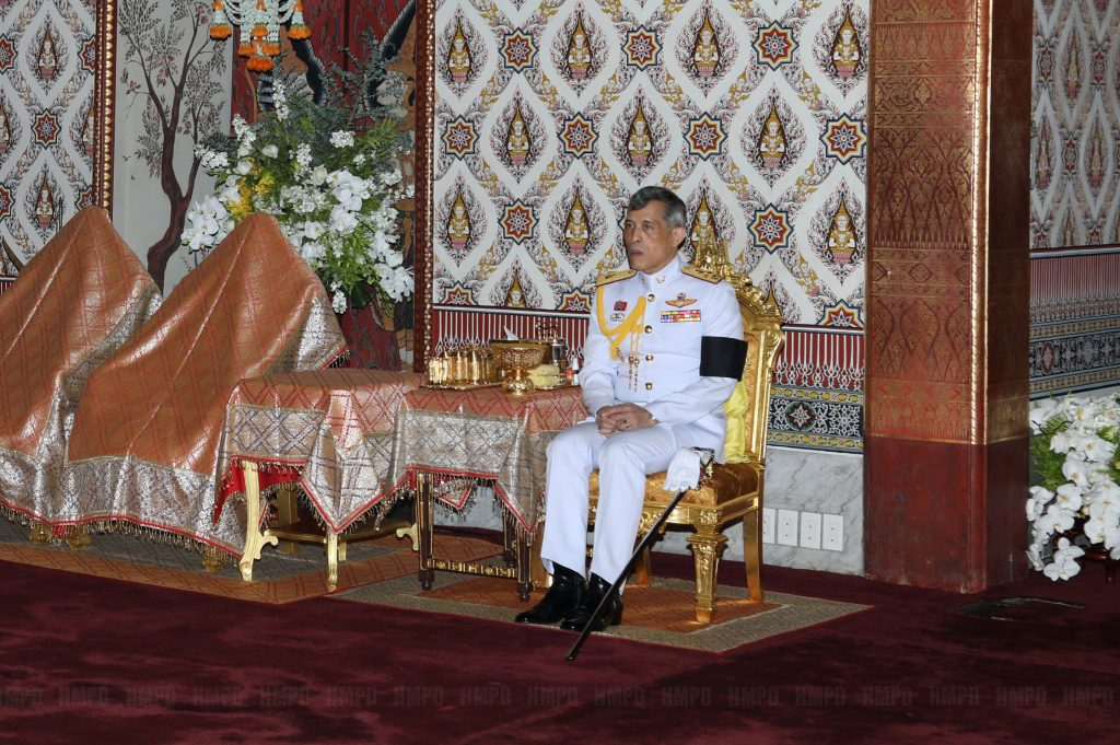 Thailand's Crown Prince Maha Vajiralongkorn takes part in a ceremony honouring Thailand's late King Bhumibol Adulyadej at the Grand Palace in Bangkok, Thailand, October 24, 2016. Picture taken October 24, 2016. Picture has been watermarked from source. Thailand Royal Household Bureau/Handout via REUTERS ATTENTION EDITORS - THIS IMAGE WAS PROVIDED BY A THIRD PARTY. EDITORIAL USE ONLY. NO RESALES. NO ARCHIVE.