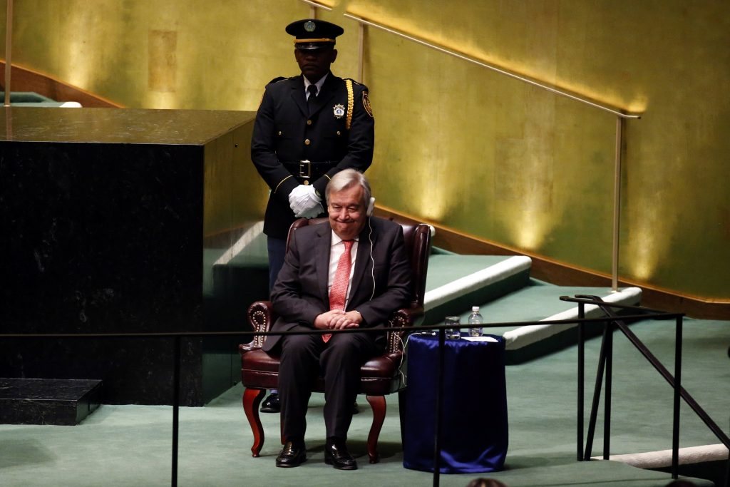 Secretary-General-designate, Antonio Guterres of Portugal, listens to speakers at U.N. headquarters in New York October 13, 2016. REUTERS/Lucas Jackson
