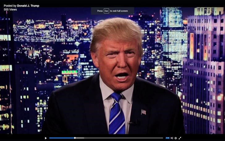 Republican U.S. presidential nominee Donald Trump is seen in a video screengrab as he apologizes for lewd comments he made about women during a statement recorded by his presidential campaign and released via social media after midnight October 8, 2016. Donald J. Trump via Reuters/Handout