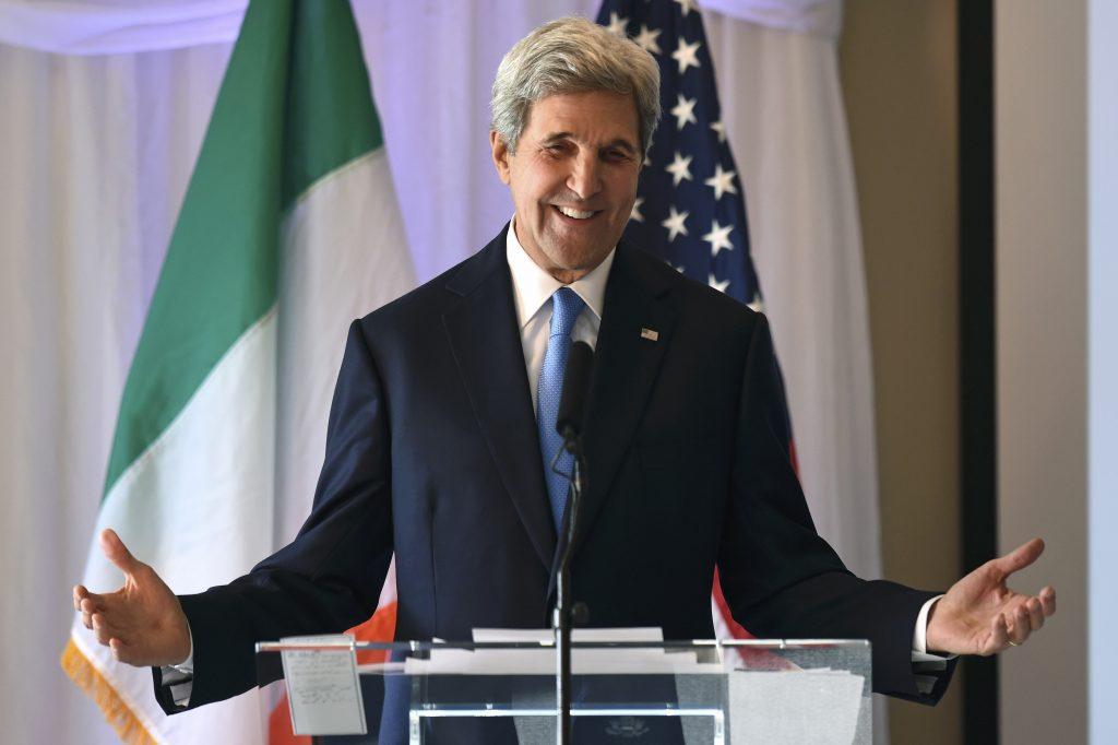 U.S. Secretary of State John Kerry speaks on stage before receiving the Tipperary International Peace Award in Tipperary, Ireland October 30, 2016. REUTERS/Clodagh Kilcoyne