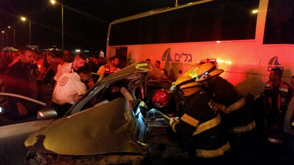 The accident scene in Be'ersheva (Negev Fire Department Spokesman)