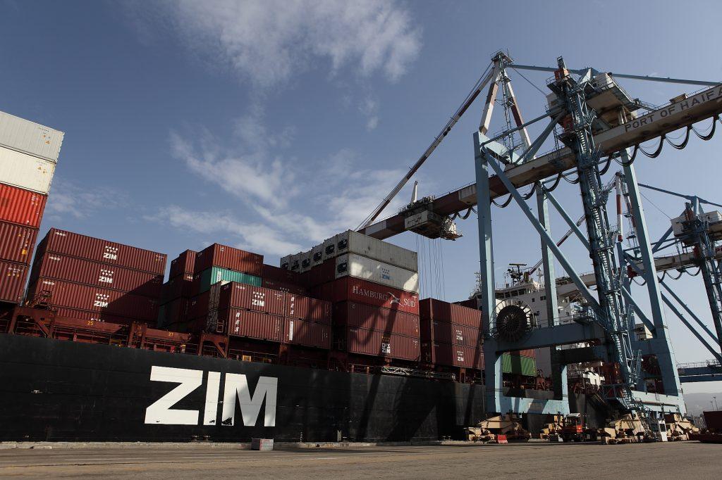 Zim shipping containers at the Haifa port. (Yaakov Naumi/Flash90)