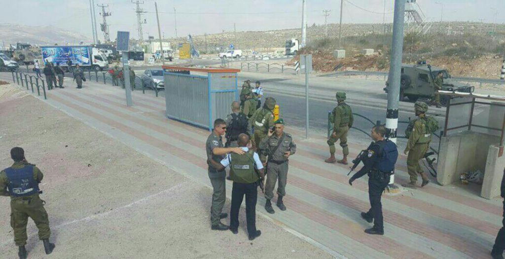 Security forces near the scene of the attempted attack, Wednesday. (Police Spokesman)