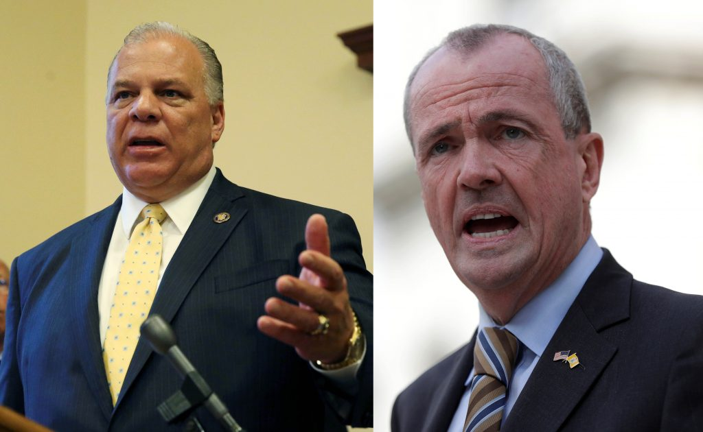 This composite image shows Steve Sweeney (L) and Phil Murphy. (AP Photo/Mel Evans/Julio Cortez)