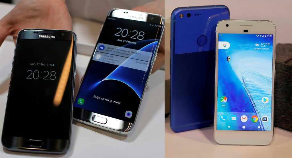 This composite image shows a Samsung Galaxy S7 (far left) and S7 Edge (center); and a new Google Pixel phone. (AP Photo/Manu Fernandez/Eric Risberg)