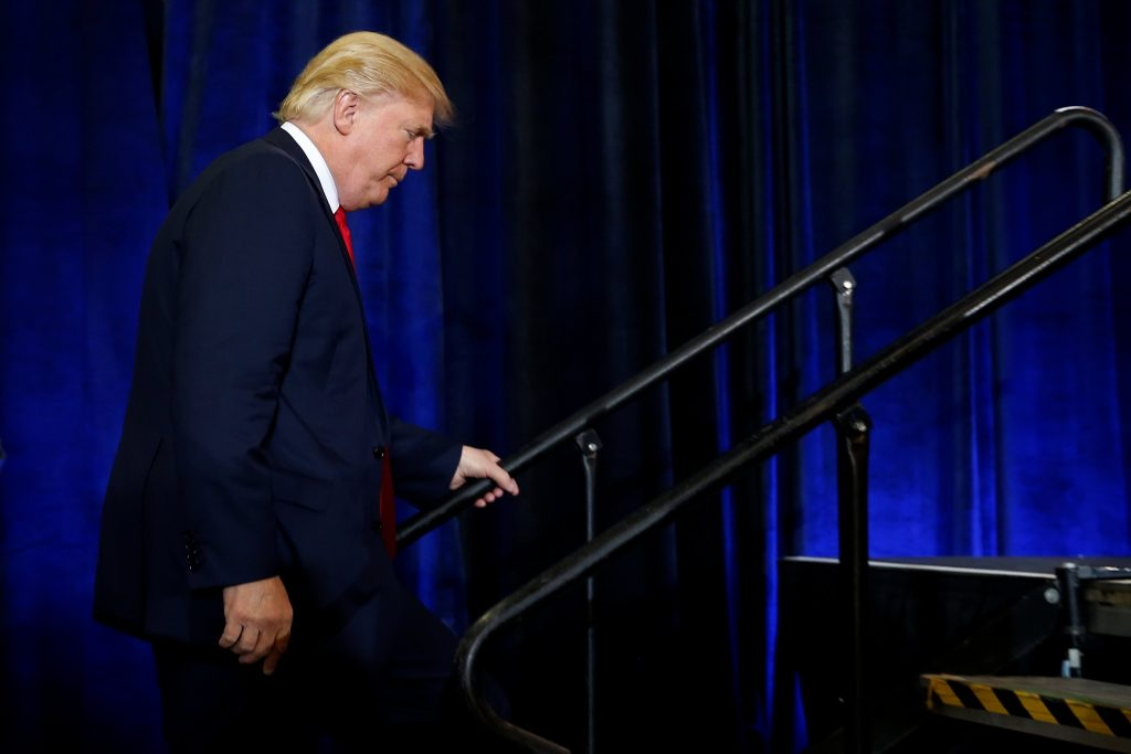 Republican presidential nominee Donald Trump attends a campaign rally in at the Florida State Fairgrounds in Tampa, Florida. (Carlo Allegri/Reuters)