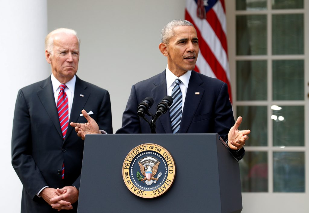 President Barack Obama (R) with Vice President Joe Biden at his side, speaks at the Rose Garden of the White House on Wednesday. (Reuters/Kevin Lamarque)