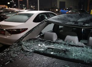 Damaged cars sit on a lot in Portland, Oregon, after an anti-Trump riot swept through the area Thursday night. (Reuters/Steve Dipaola)