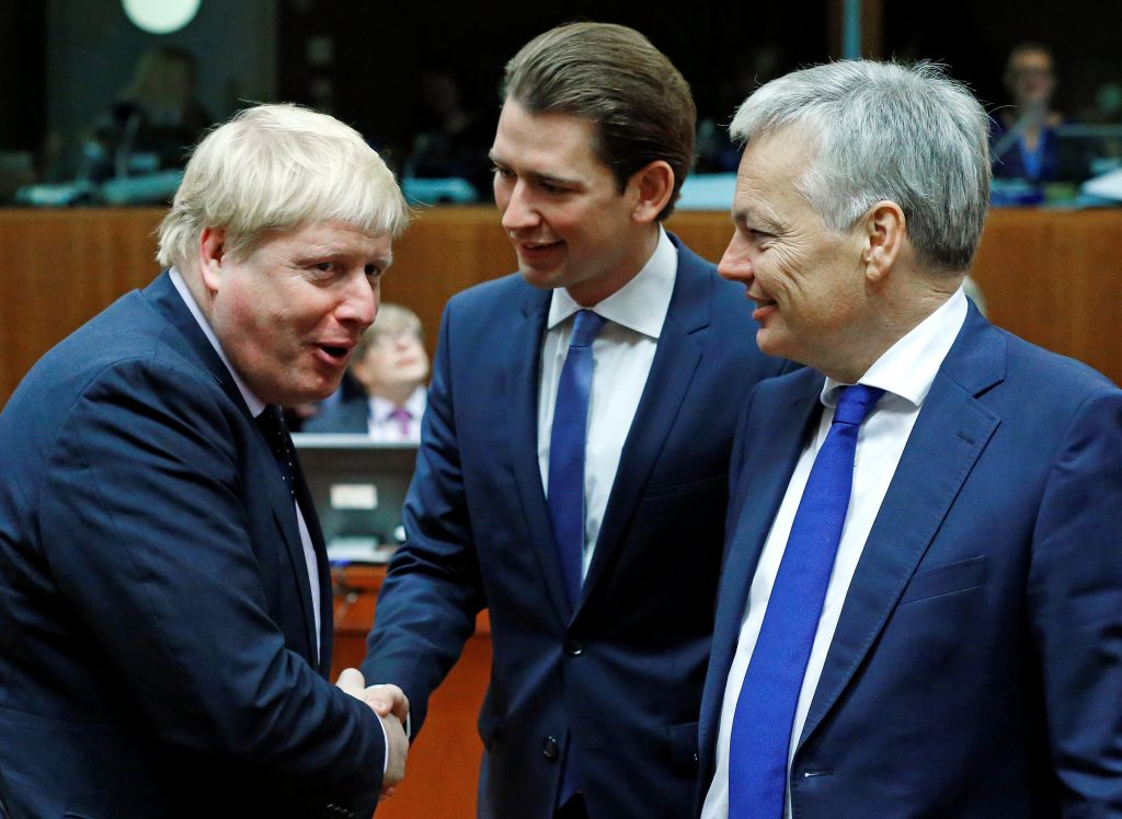 Britain's Foreign Secretary Boris Johnson (L), Austria's Foreign Minister Sebastian Kurz (C), and Belgium's Foreign Minister Didier Reynders attend a European Union foreign ministers meeting in Brussels, Belgium, on Monday. (Reuters/Yves Herman)