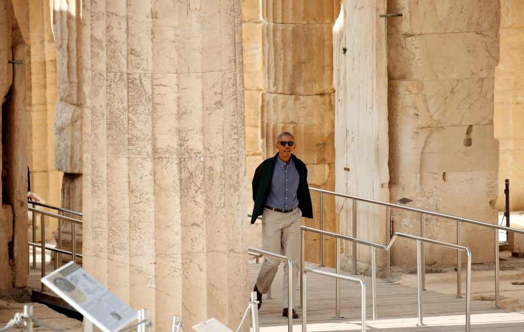 President Barack Obama tours the Acropolis in Athens, Greece, Wednesday. (Kevin Lamarque/Reuters)