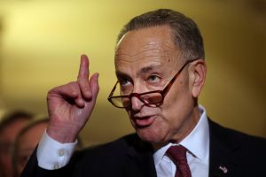 Senator Chuck Schumer (D-NY) talks to the media after attending the Senate Democratic party leadership elections at the Capitol on Wednesday. (Reuters/Carlos Barria)