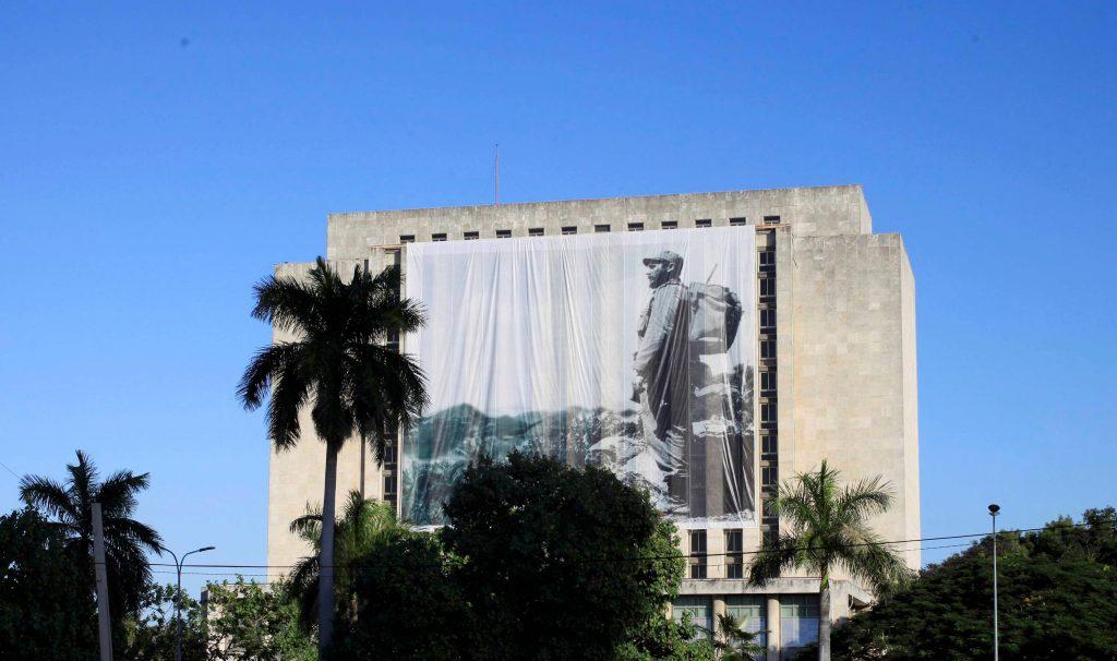 A large portrait of Fidel Castro hangs from a building in Havana on Monday. (Reuters/Enrique De La Osa)