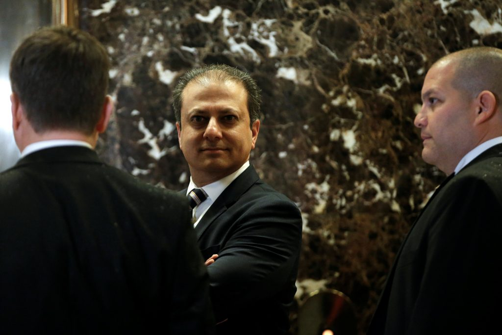 Preet Bharara, the U.S. Attorney for the Southern District of New York, at Trump Tower on Wednesday. (Reuters/Mike Segar)