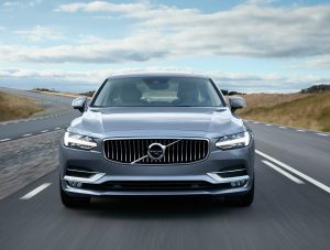 The Volvo S90's front axle was moved forward more than 7 inches, the front overhang has been reduced, and the A-pillar be pushed rearward to lend the hood greater length. (Volvo)