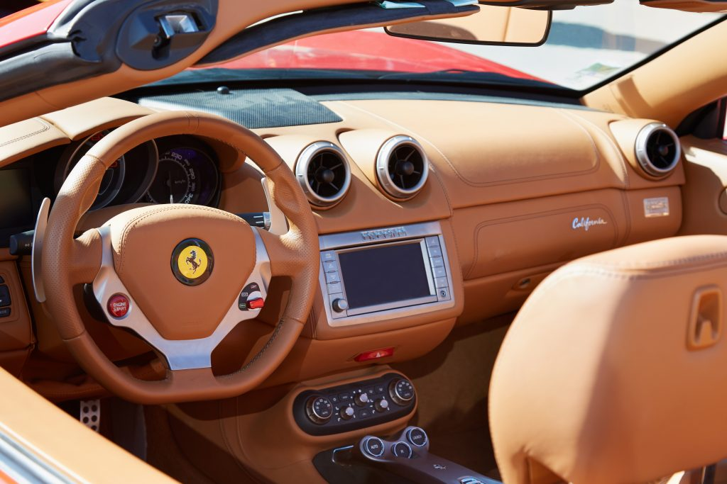 The leather interior of a Ferrari California.
