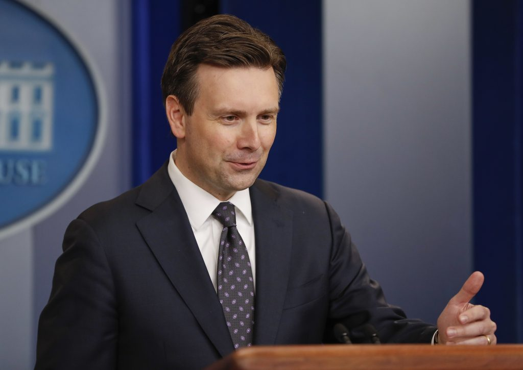 White House Press secretary Josh Earnest speaks to the media during the daily briefing in the Brady Press Briefing Room of the White House, Monday, Oct. 31, 2016. (AP Photo/Pablo Martinez Monsivais)