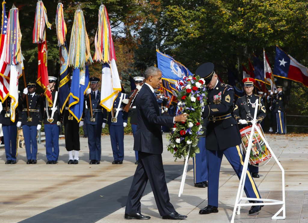 President Barack Obama lays a wreath at the Tomb of the Unknowns at Arlington National Cemetery. (AP Photo/Pablo Martinez Monsivais)