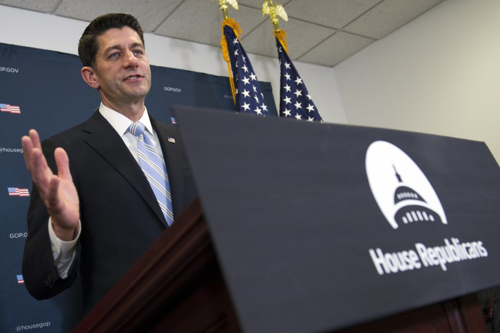 House Speaker Paul Ryan speaks with reporters on Capitol Hill Tuesday, after a House Republican leadership meeting. (AP Photo/Cliff Owen)