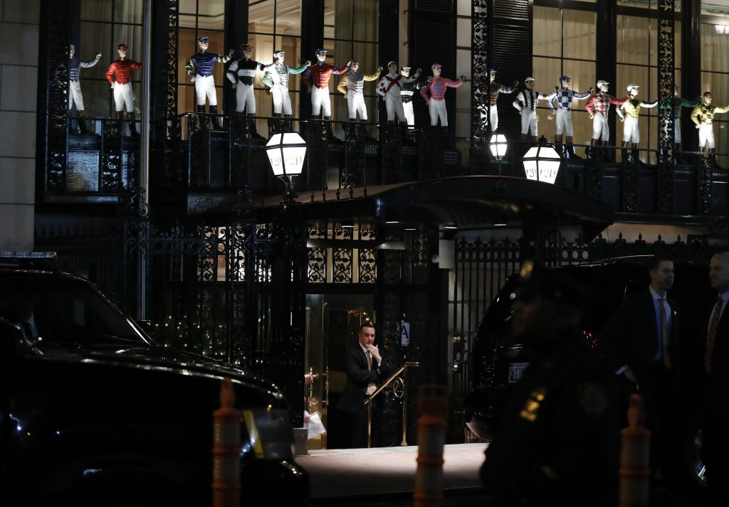 Security personnel of President-elect Donald Trump outside 21 Club Restaurant in Manhattan on Tuesday evening. (AP Photo/Carolyn Kaster)