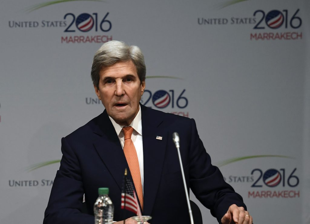 Secretary of State John Kerry speaking during a Major Economies Forum meeting at the COP22 climate-change conference in Marrakech, Morocco, on Wednesday. (Mark Ralston, Pool Photo via AP)