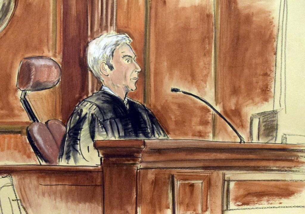 In this artist drawing, United States District Judge Richard Berman is seated on the bench during the arrangement of Ahmad Khan Rahimi in New York, on Thursday. (AP Photo/Elizabeth Williams)