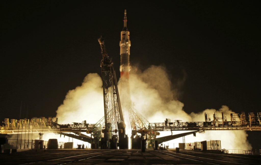 The Soyuz-FG rocket booster with Soyuz MS-03 space ship carrying a new crew to the International Space Station, ISS, blasts off at the Russian leased Baikonur cosmodrome, Kazakhstan, Friday, Nov. 18, 2016. The Russian rocket carries French astronaut Thomas Pesquet, Russian cosmonaut Oleg Novitsky and U.S. astronaut Peggy Whitson. (AP Photo/Dmitri Lovetsky)