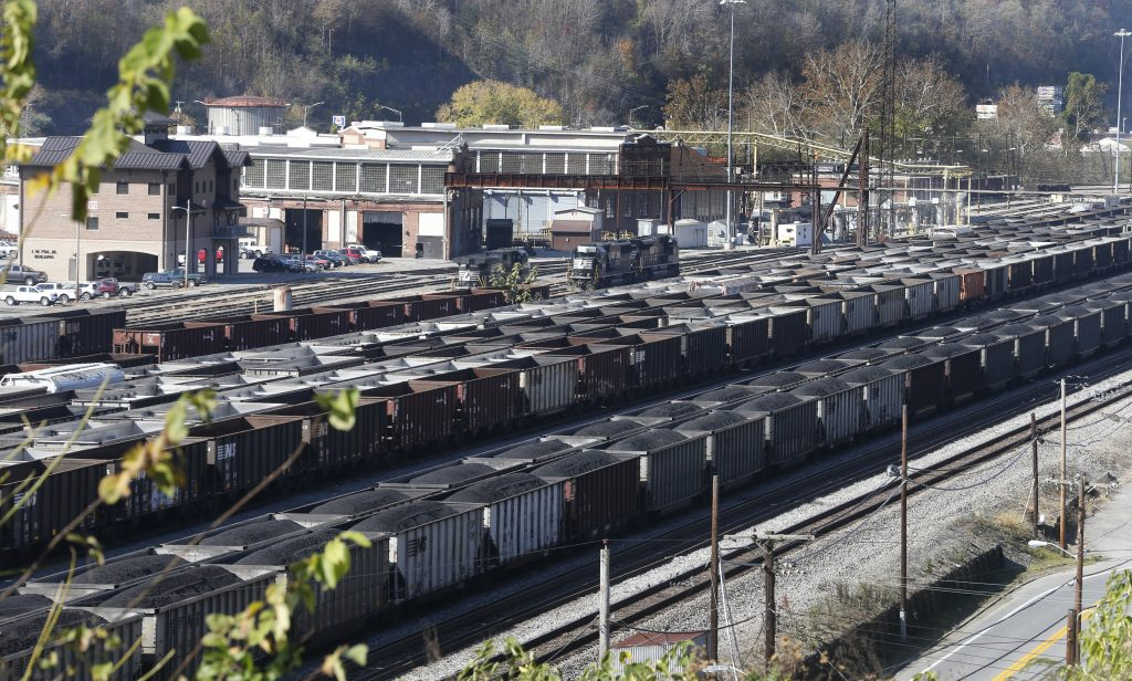 Coal cars in a rail yard in Williamson , W.Va. (AP Photo/Steve Helber)