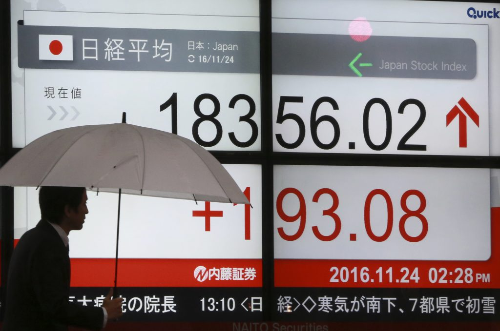 A man walks past an electronic stock board showing Japan's Nikkei 225 index at a securities firm in the snow in Tokyo, Thursday, Nov. 24, 2016. Asian markets were mixed Thursday in quiet trade amid the Thanksgiving holiday in the U.S., with Japan's bourse buoyed by a lower yen. (AP Photo/Eugene Hoshiko)