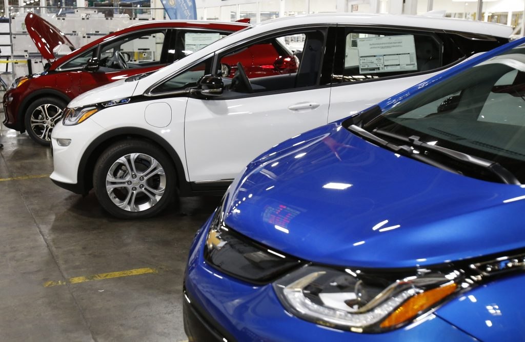 Chevrolet Bolt EV vehicles at the General Motors Orion Assembly plant in Orion Township, Mich. (AP Photo/Duane Burleson)