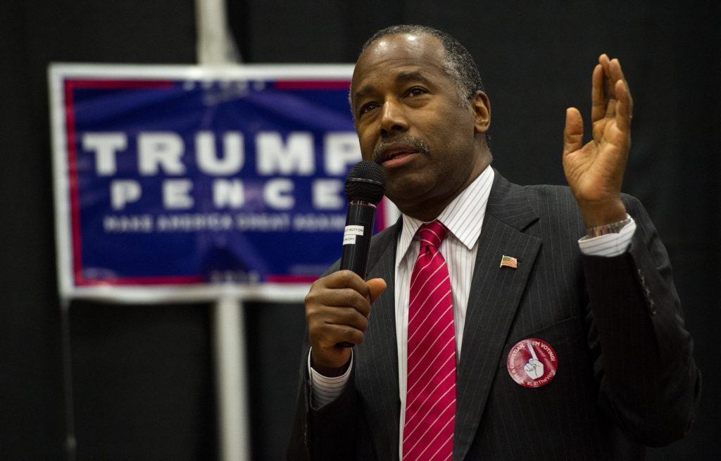 Dr. Ben Carson speaks during a rally for Republican presidential candidate Donald Trump on Nov. 4, 2016, at The Classical Academy in Colorado Springs, Colo. (Christian Murdock/The Gazette via AP)