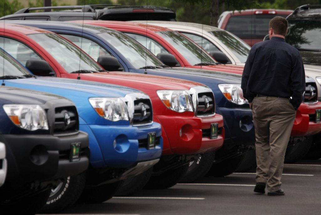 2008 Toyota Tacoma pickup trucks on the lot at a dealership in Centennial, Colo. (AP Photo/David Zalubowski)