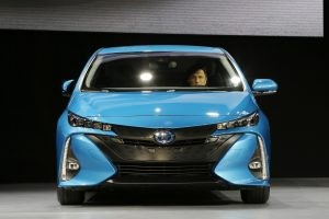 The 2017 Toyota Prius Prime at the New York International Auto Show in March. (AP Photo/Mark Lennihan)