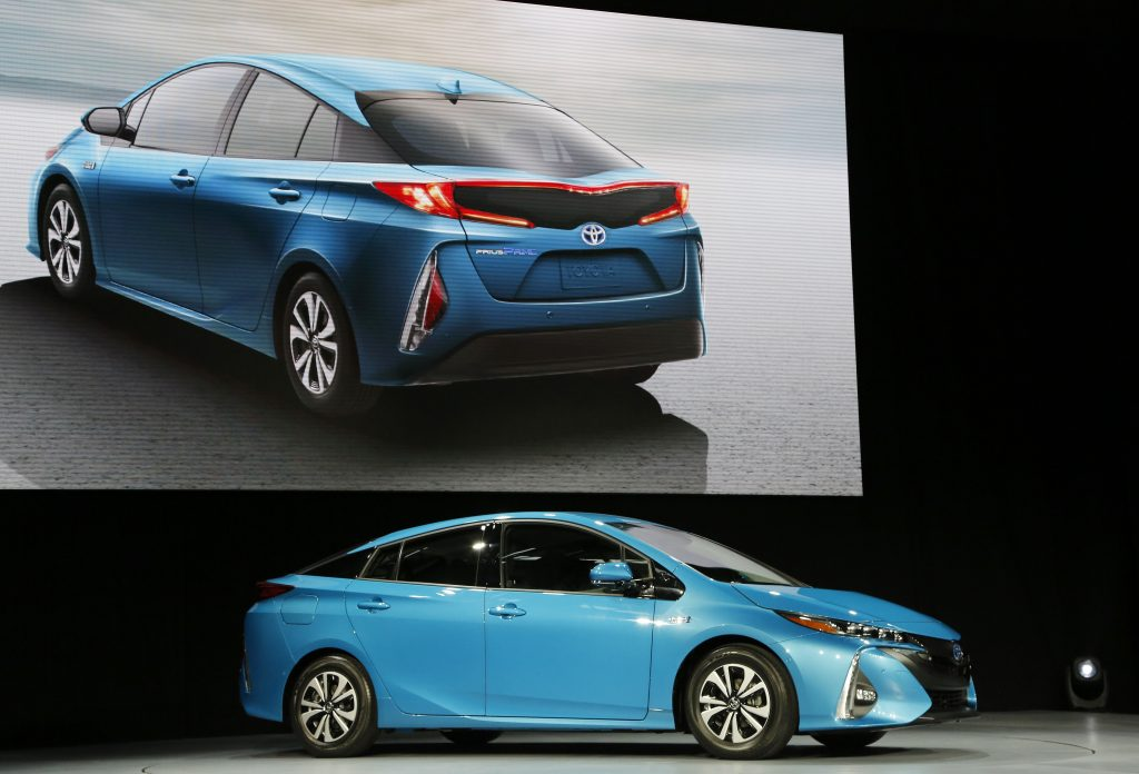 The 2017 Toyota Prius Prime at the New York International Auto Show last March. (AP Photo/Mark Lennihan)