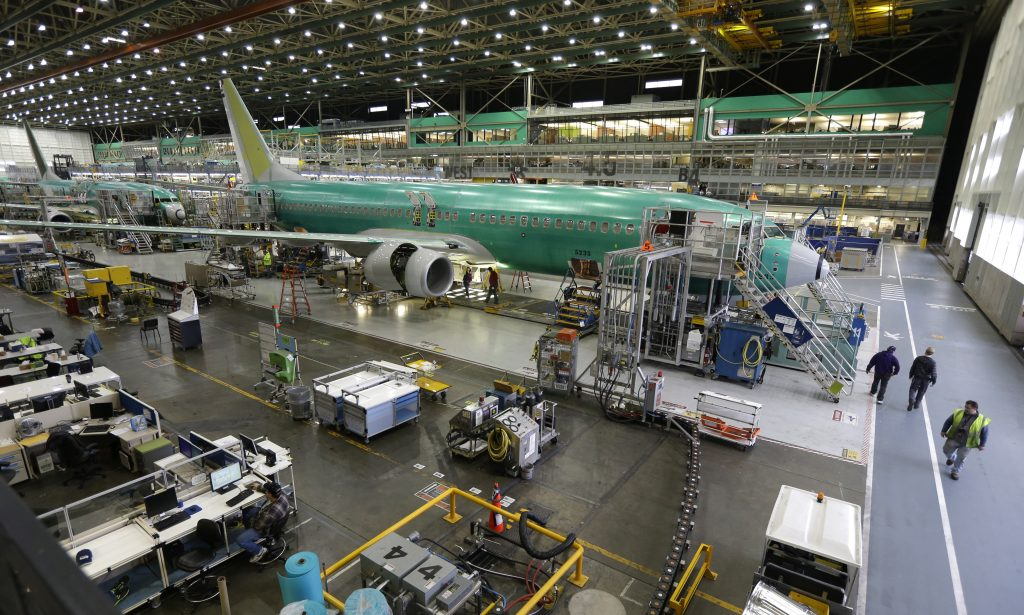 Boeing 737-800 airplanes on the assembly line at Boeing's 737 assembly facility in Renton, Wash. (AP Photo/Ted S. Warren)
