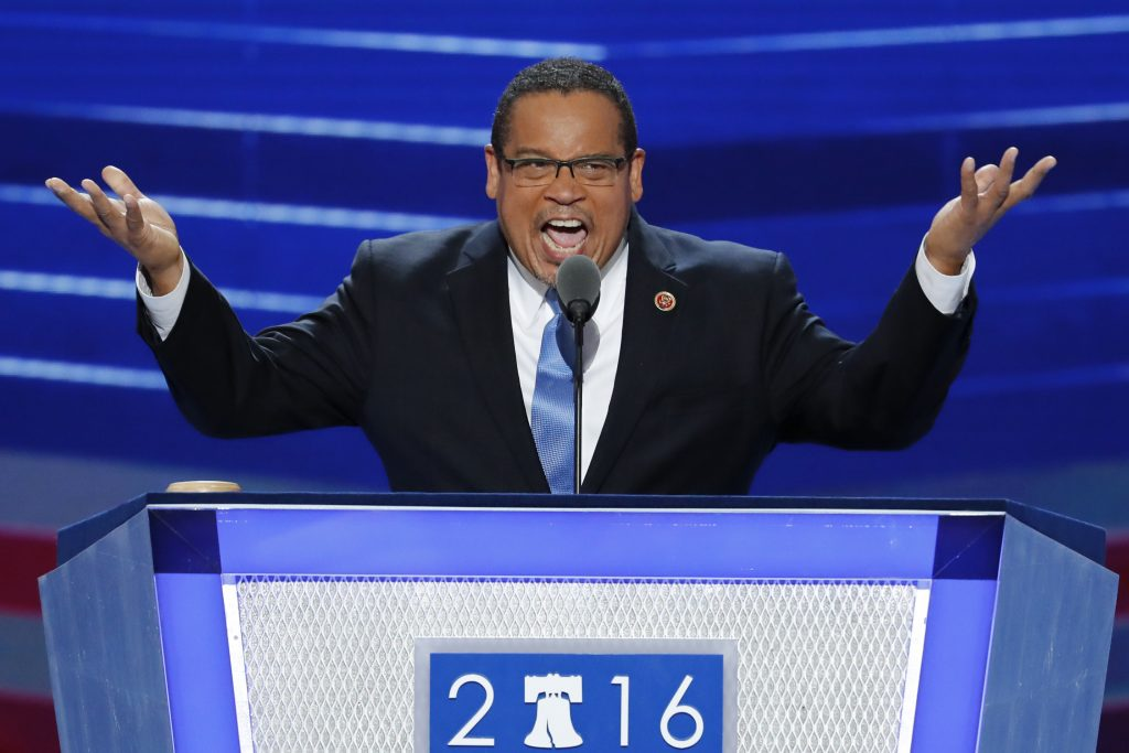Rep. Keith Ellison, D-Minn., speaks during the first day of the Democratic National Convention. (AP Photo/J. Scott Applewhite)