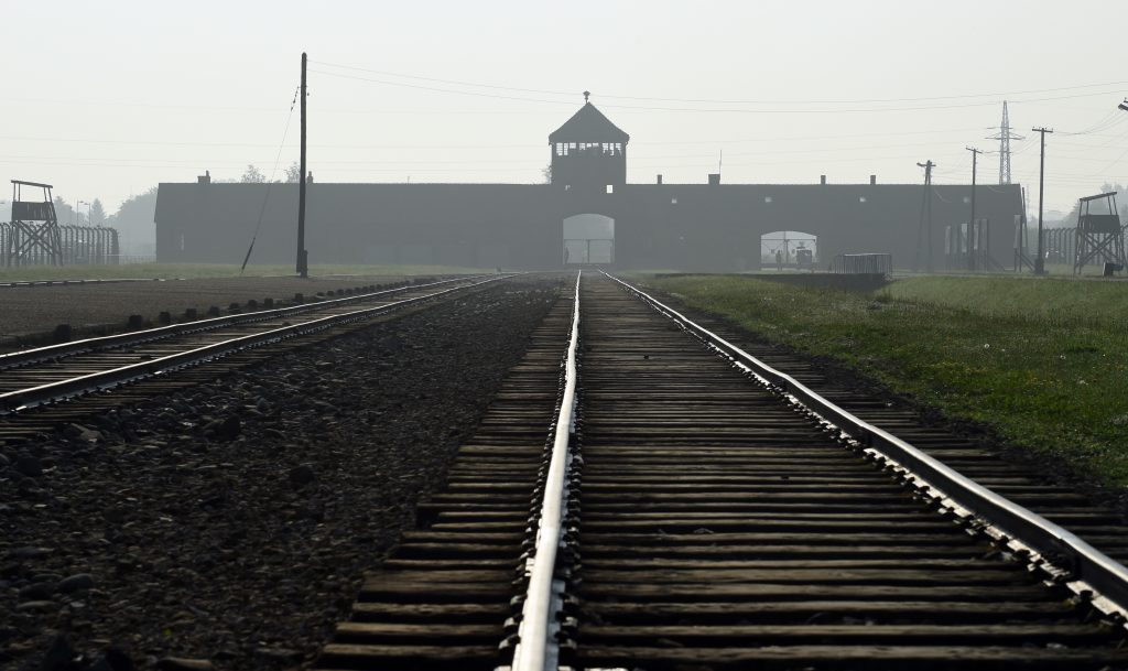 The entrance to the Auschwitz death camp. (AP Photo/Alik Keplicz, File)