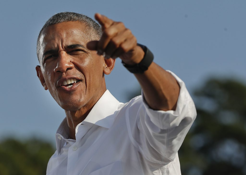 President Barack Obama speaks at a Clinton rally at the University of North Carolina in Chapel Hill, on Wednesday. (AP Photo/Pablo Martinez Monsivais)