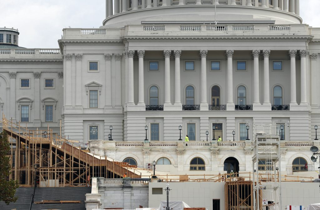 Construction of the inaugural stand on Capitol Hill in Washington, for the upcoming January inauguration of President-elect Donald Trump. (AP Photo/Alex Brandon)
