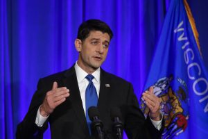 House Speaker Paul Ryan of Wisconsin speaks during a news conference in Janesville, Wisc., shortly before noon on Wednesday. (AP Photo/Paul Sancya)