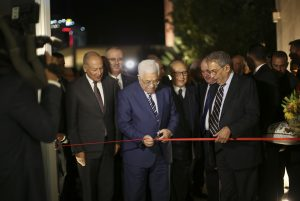 Ahmed Aboul Gheit, Secretary-General of the Arab League (L). with Palestinian president Mahmoud Abbas (C) and former Secretary-General of the Arab League Amr Mousa attend the inauguration ceremony of the Yasser Arafat Museum in Ramallah on Wednesday. (Fadi Arouri/Xinhua via AP, Pool)