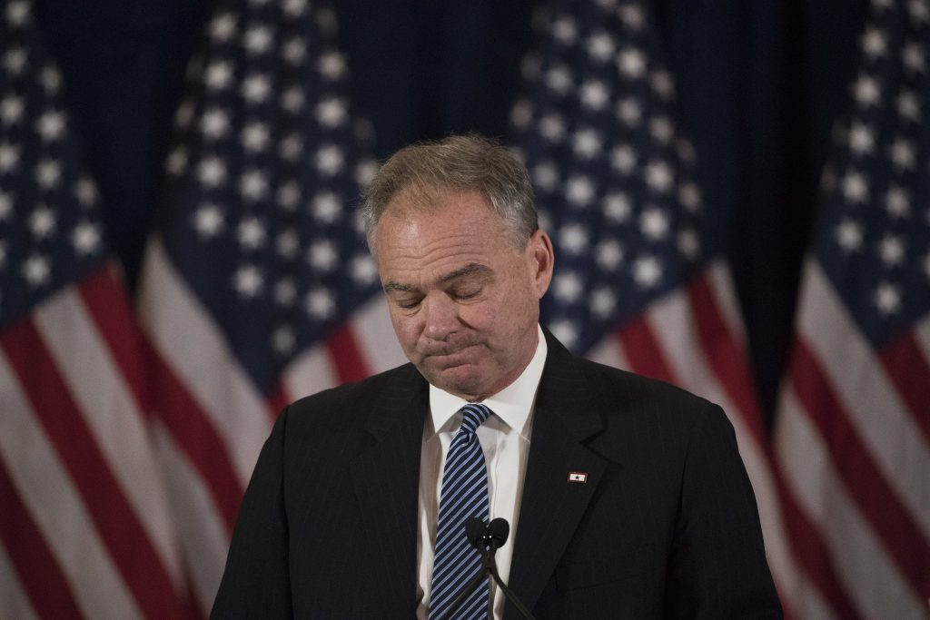 Democratic vice presidential candidate, Sen. Tim Kaine, D-Va., speaking to supporters of the Clinton-Kaine campaign the morning after Election Day in New York. (AP Photo/Matt Rourke)