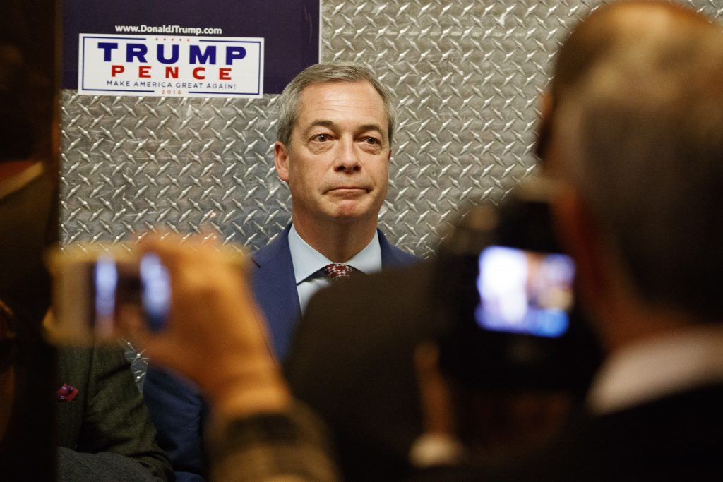 U.K. Independence Party leader Nigel Farage at Trump Tower in New York on Saturday. (AP Photo/ Evan Vucci)